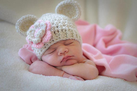 Pink & Beige Flower Hat