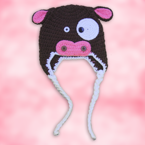 Cute Cow Pink & Brown Crochet Hat