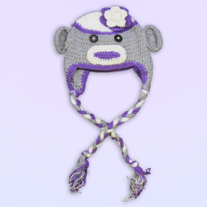 Grey & Purple Monkey Crochet Hat