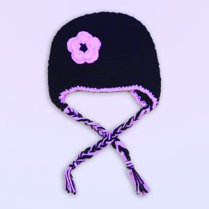 Pink & Black Flower Crochet Hat