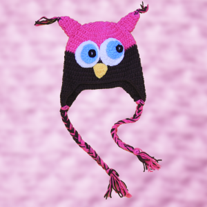 Pink Brown Crochet Owl Hat