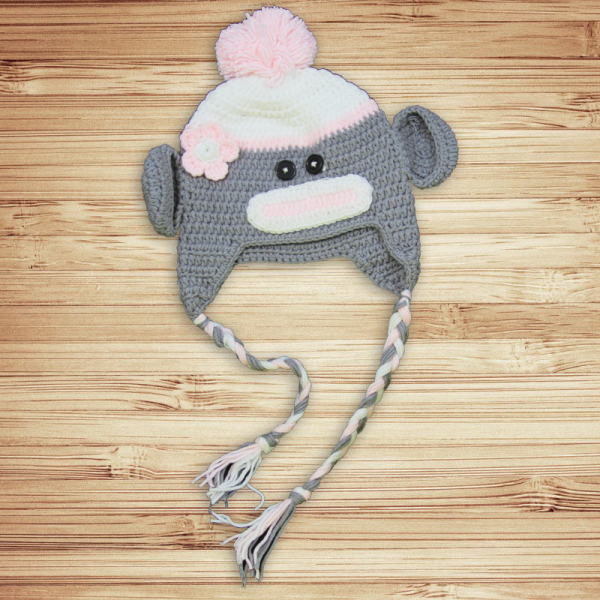 Grey & Pink Sock Monkey Hat