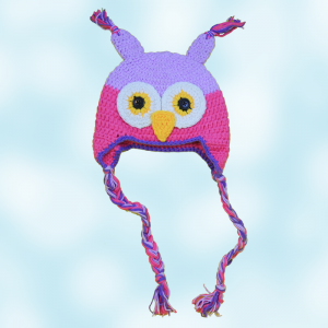 Pink Purple Owl Crochet Hat