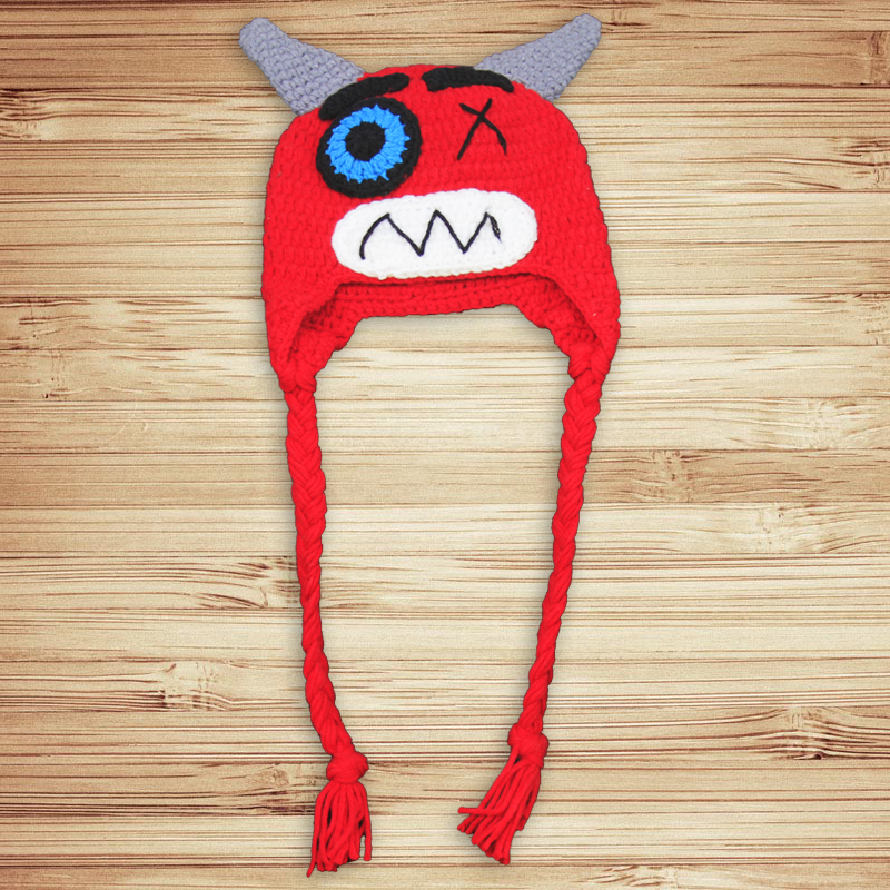 Silly Red Horned Crochet Hat